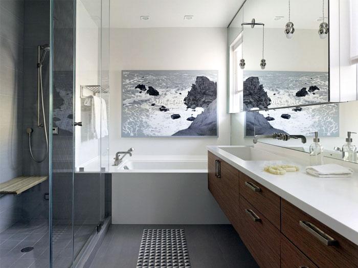 grey wall decor bathroom