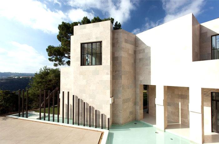 bel air hill house travertine stone facade