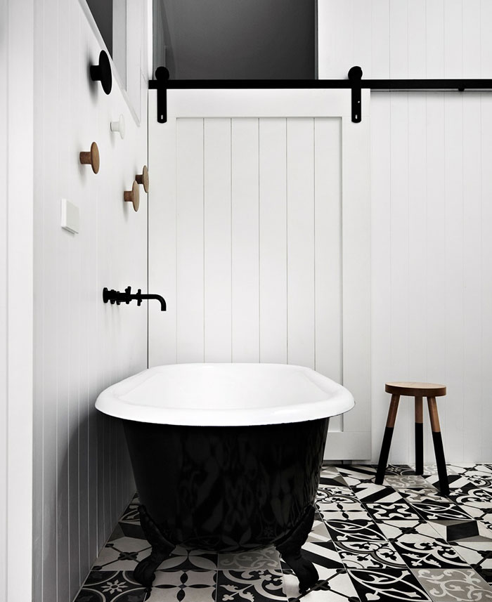 color base black white bathroom