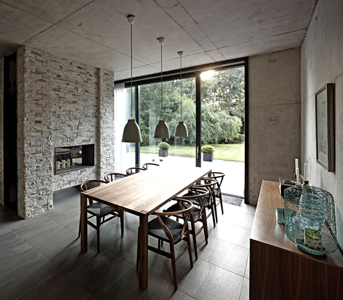 Suburban Home With Concrete Structure That Is Exposed