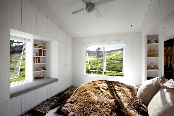 bedroom wood cladding painted white