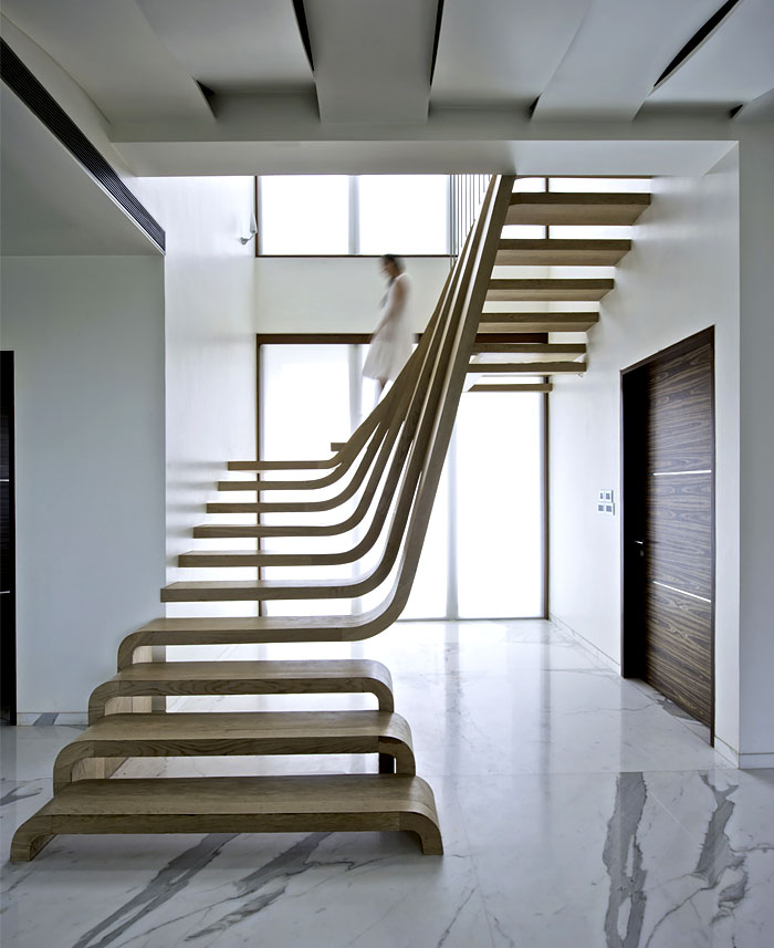 Suspended Style 32 Floating Staircase Ideas For The: Sophisticated Indian Apartment With Woven Staircase