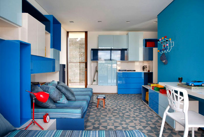 bright blue color bedroom