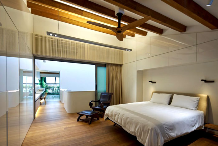timber beams bedroom decor