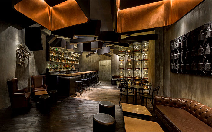 contemporary-bar-asymmetrical-drop-ceiling-clad
