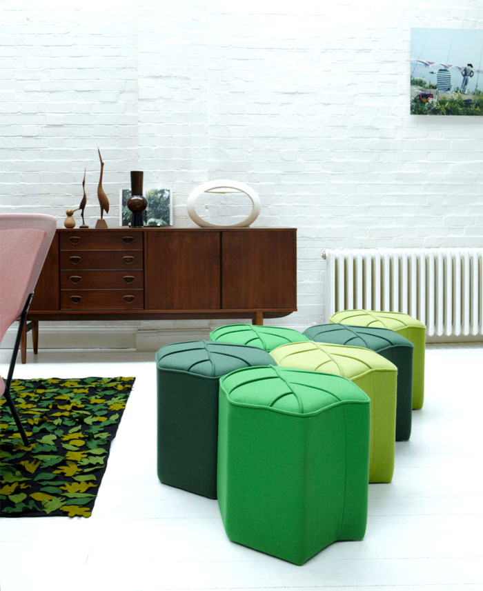 leaf seat upholstered wool pouf 3