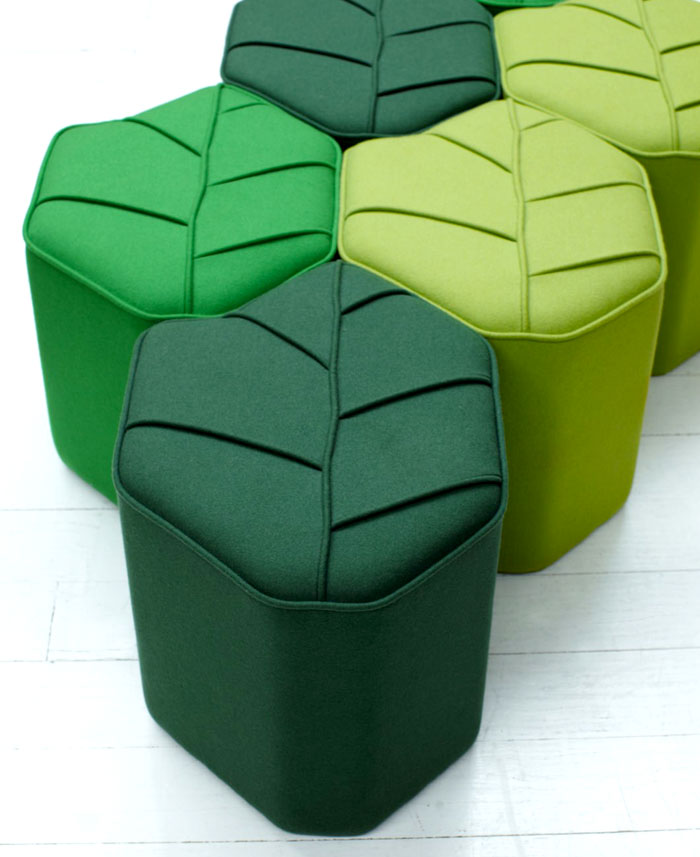 leaf seat upholstered wool pouf 5