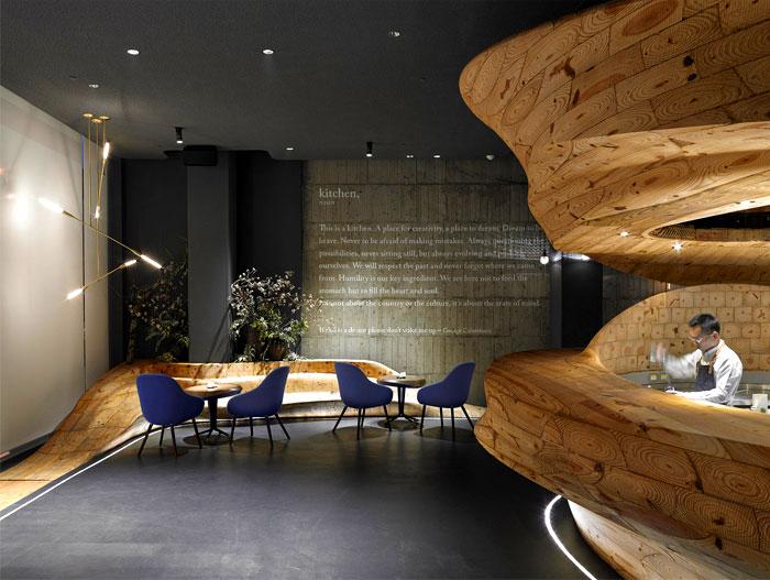 organically sculptured wooden decor raw restaurant 4