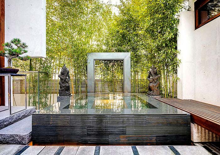 Small modern Asian garden and Zen retreat for contemporary Vancouver home