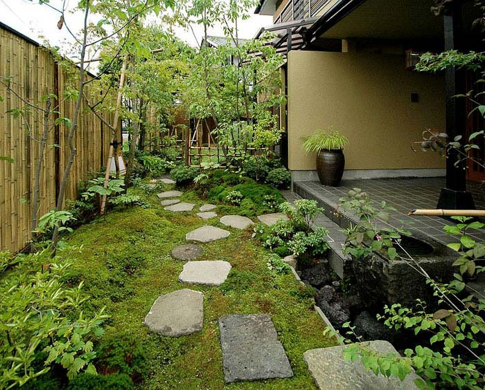 backyard moss stepping stones bamboo asian garden