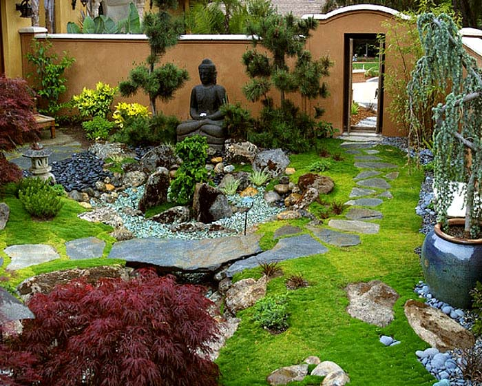 backyard zen garden with buddha statue