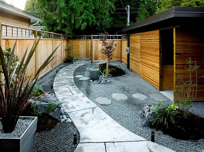 contemporary asian style backyard design with white stone ways