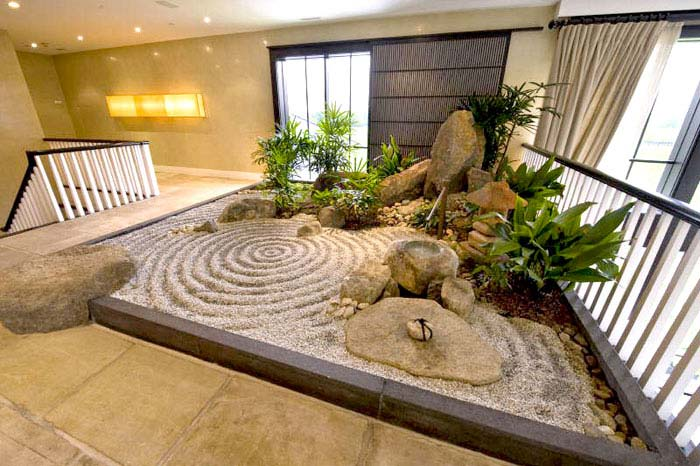 contemporary indoor rock garden