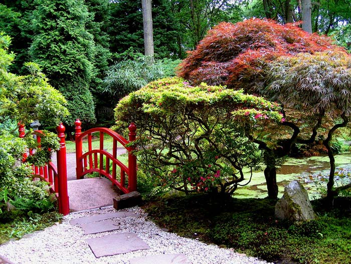 lush garden chinese red bridge