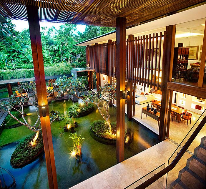 modern home magical water asian garden