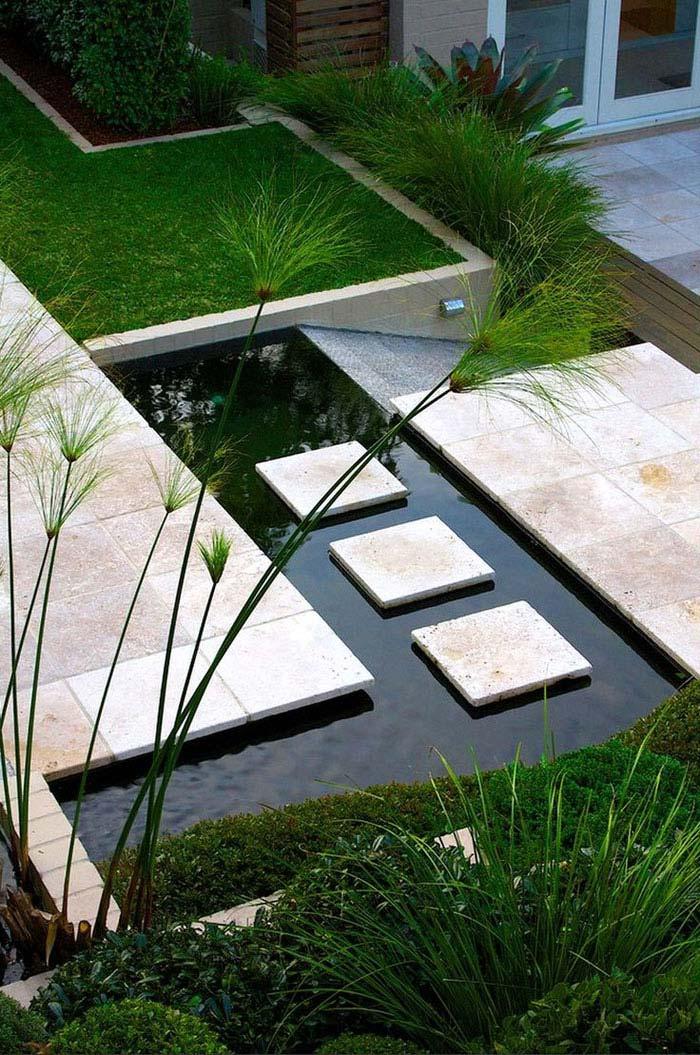 modern zen inspired pond garden