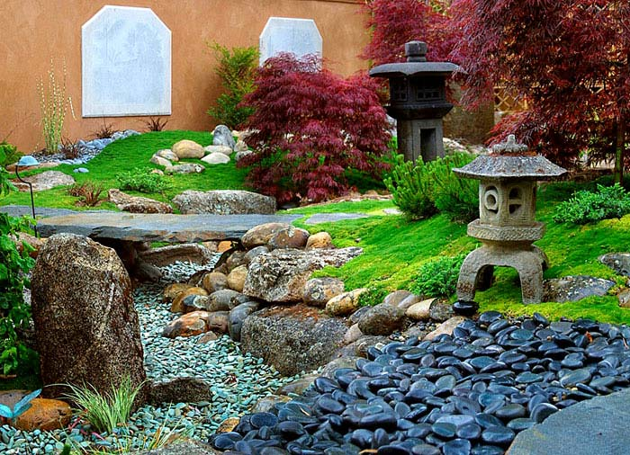 rocks stone lantern red maple asian landscape