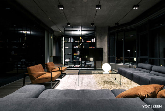 trendy dark bachelor apartment 13