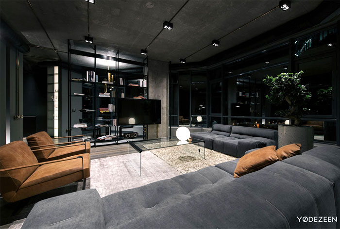 trendy dark bachelor apartment 14