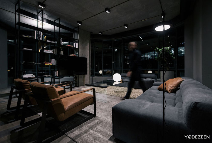 trendy dark bachelor apartment 17