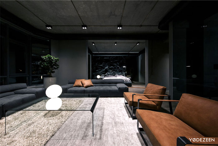 trendy dark bachelor apartment 20