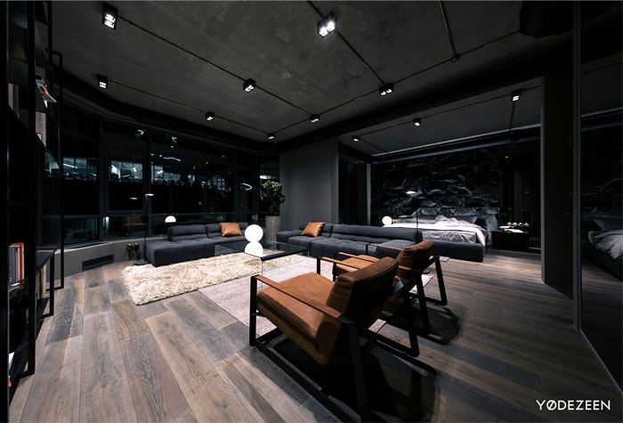 trendy dark bachelor apartment 22