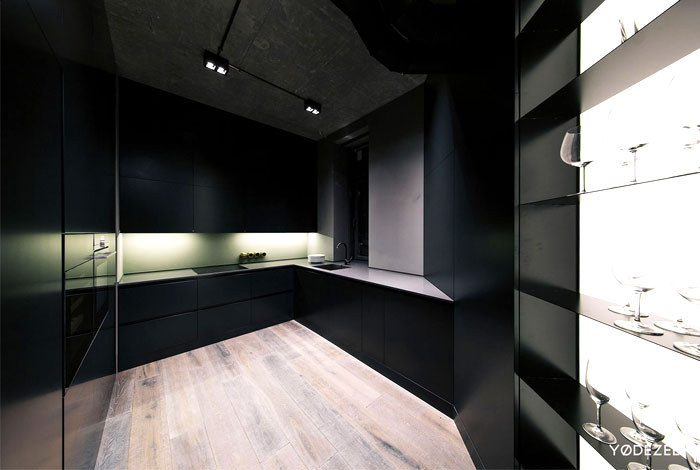 trendy dark bachelor apartment 4