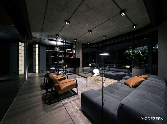 trendy dark bachelor apartment 5