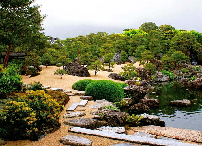 white gravel and pine garden adachi museum