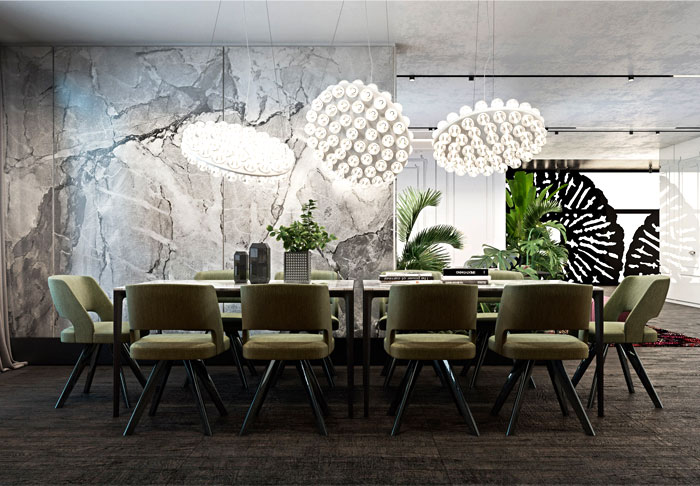 dining room marble walls decor ideas 5