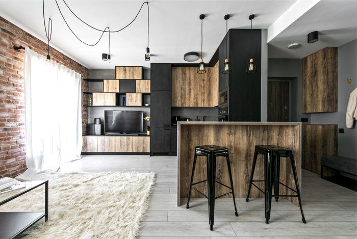 An Industrial Inspired Apartment With Exposed Brick Metal