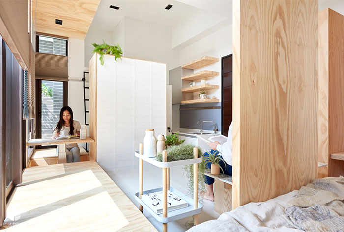 contemporary cozy functional micro apartment folk design