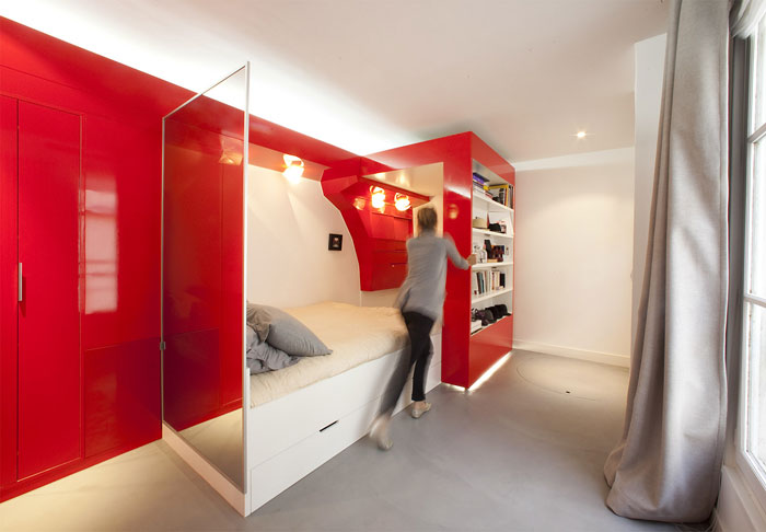 movable red shelf unit small space design