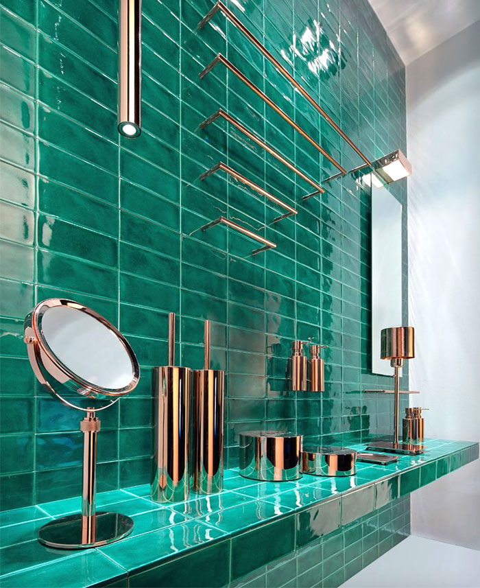 bathroom trends avoid copper emerald tiles