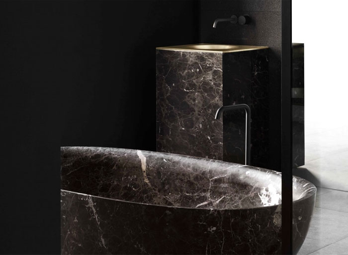 modern bathroom design dark marble