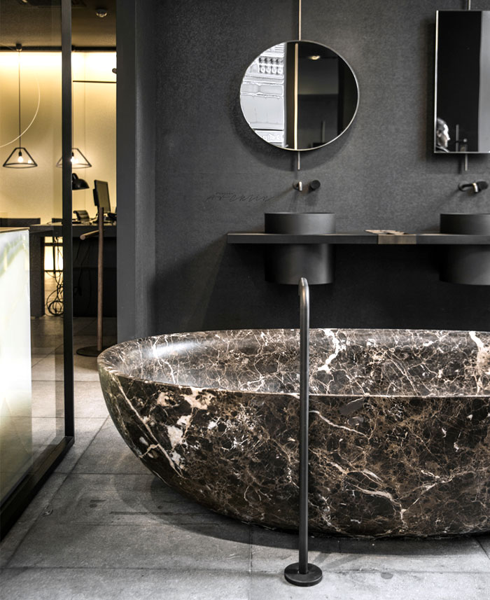 modern bathroom design marble black fixture