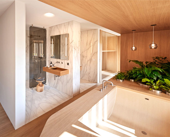 modern bathroom wood design