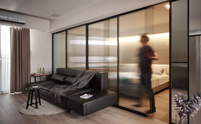 bedroom behind frosted glass
