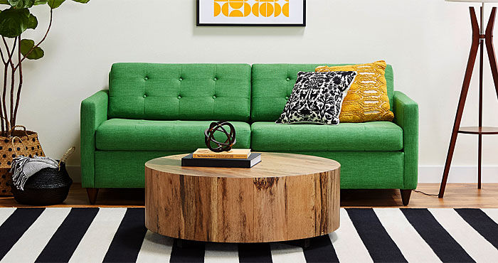 green hide a bed couch
