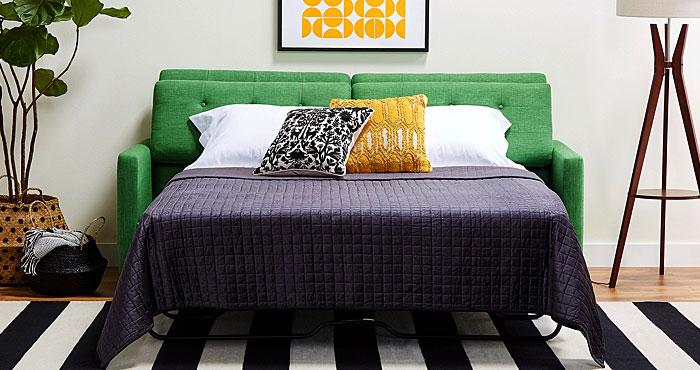 green hide a bed sofa