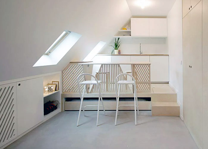 pull out bed underneath kitchen platform