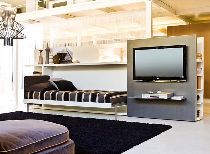 space saving horizontal murphy bed living room furniture