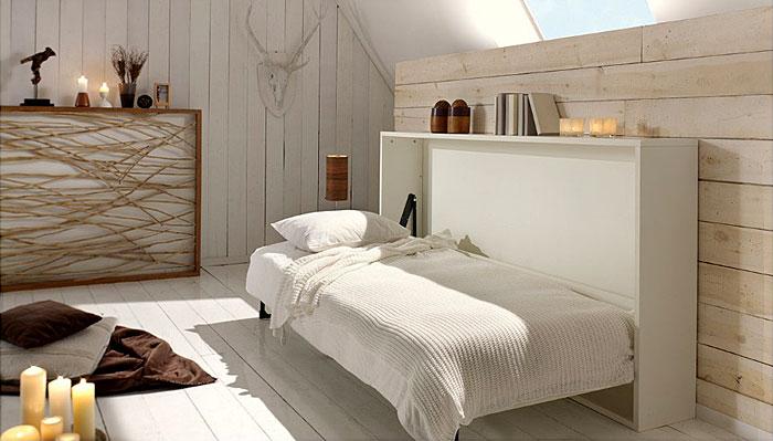 white hideaway murphy bed living room