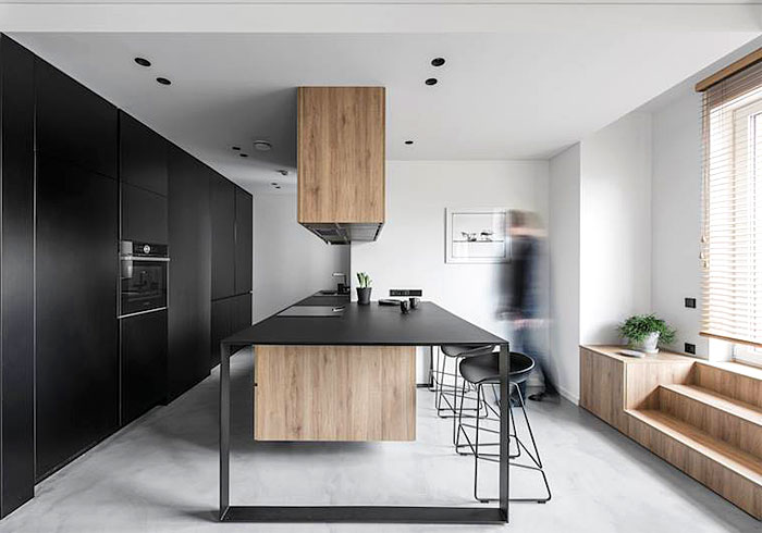 black open plan kitchen island