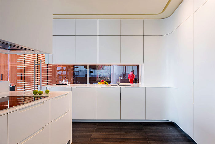 glass divider open plan kitchen