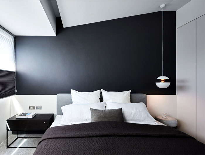 black wall men bedroom