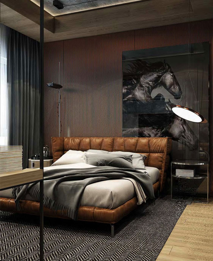 dark color masculine bedroom