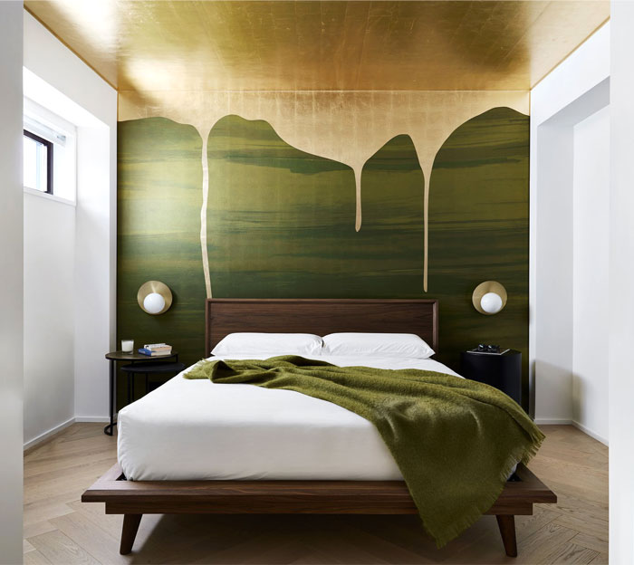 green gold wall decor bachelor bedroom