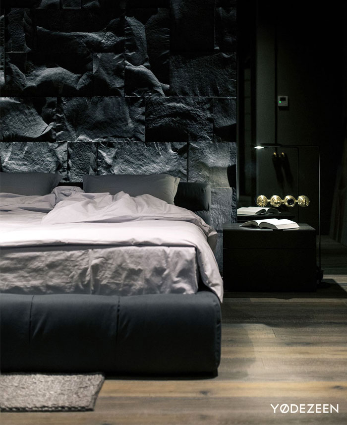 natural materials stone modern mans bedroom