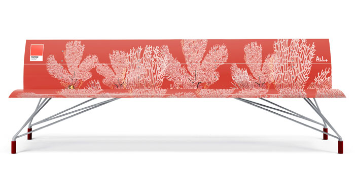 pantone living coral All benches 3